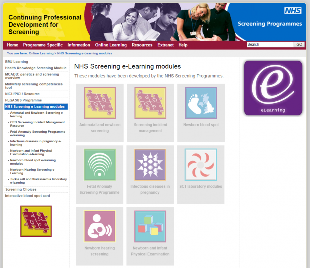The homepage of the NHS Screening e-Learning modules website.