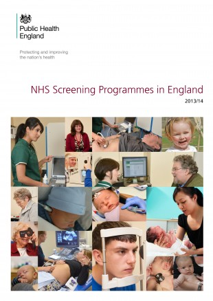 Cover of the 'NHS Screening Programmes in England 2013/14' report.