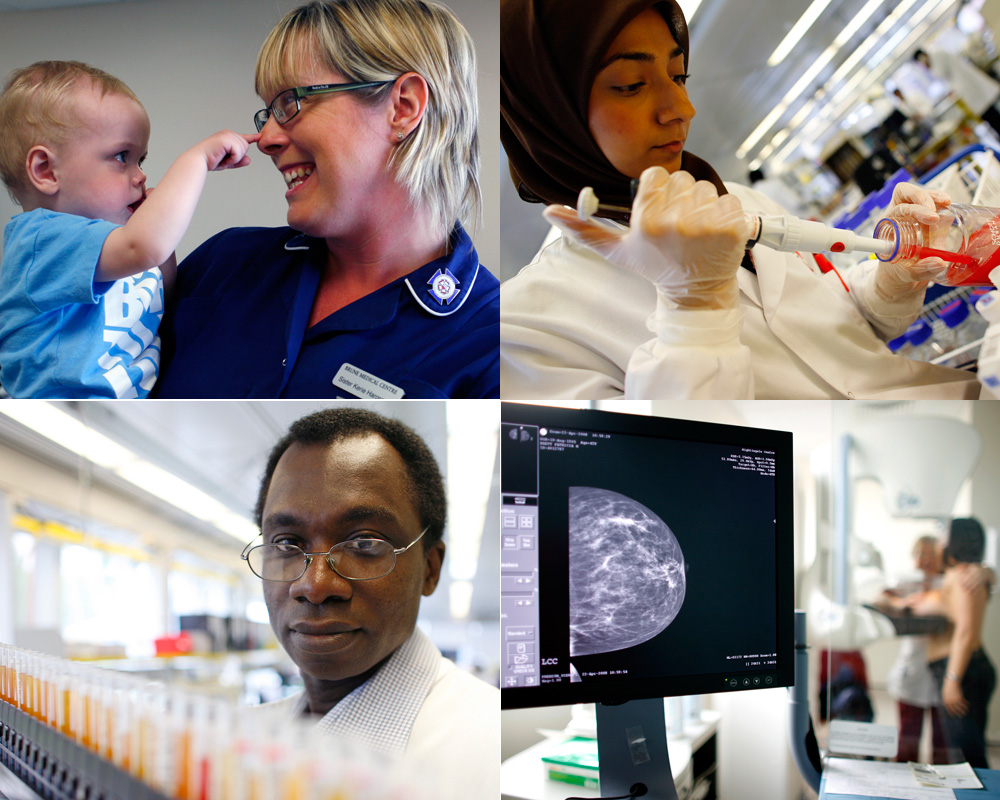 Four generic photos of health professionals in different settings.