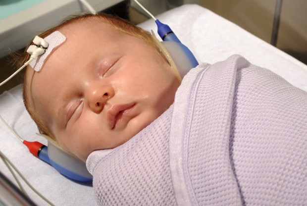A young baby in hospital.
