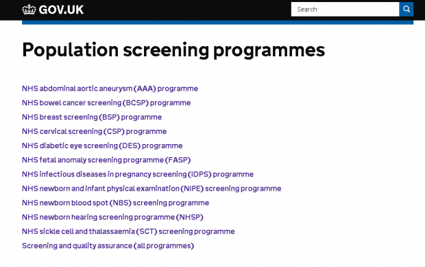 GOV.UK screening homepage