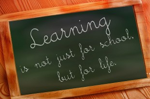 A blackboard with 'learning is not just for school but for life' written on it.