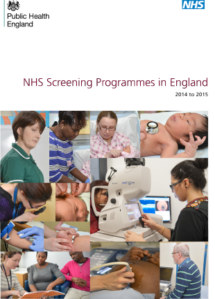 Cover of 'NHS Screening Programmes in England 2014 to 2015'.