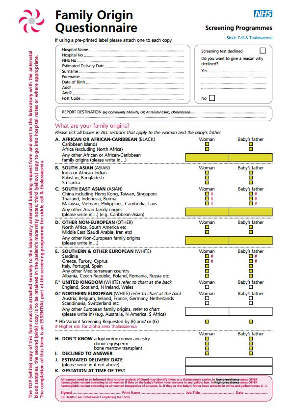 Sickle Cell and Thalassaemia family origin questionaire