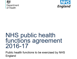 Cover of 'NHS public health functions agreement 2016-17'.