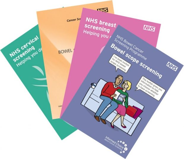 A selection of NHS cancer leaflets.