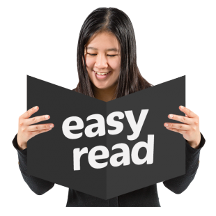 A girl holding a book with the words 'easy read' written on it.