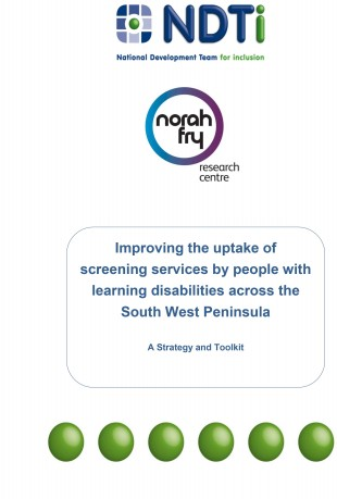 Cover of the screening services strategy and toolkit produced by the NDTi and the Norah Fry Research Institute.