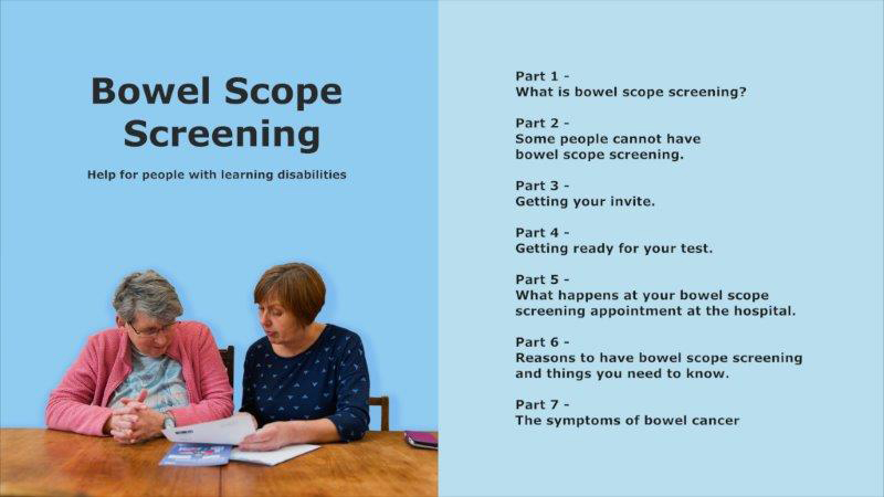The front cover and contents page of the Bowel Scope Screening guide for people with learning disabilities