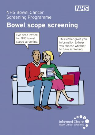 The front cover of the bowel scope screening leaflet