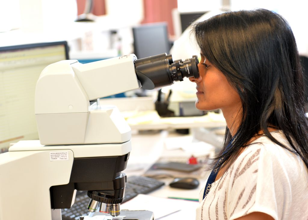 Looking through a microscope at cervical screening sample