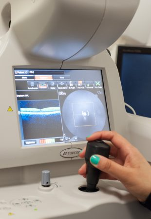 An eye imaging machine being operated