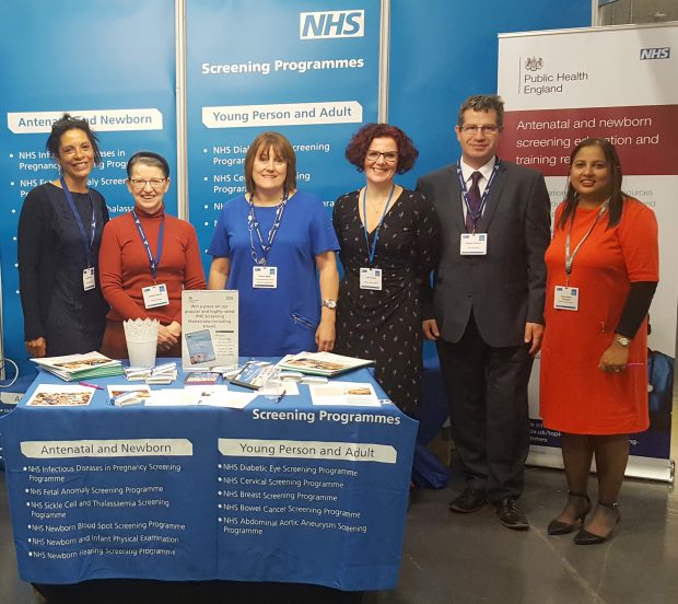 Some of the antenatal and newborn team by the PHE stand at the RCM conference.
