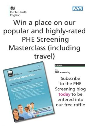 An image advertising the competition to win a place on the PHE Screening Masterclass.