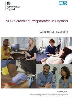 The Screening Programmes in England report front cover.