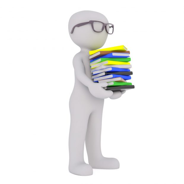 Image of a character holding books