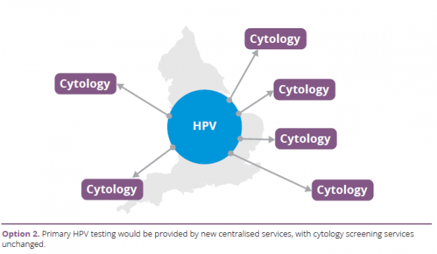 Option 2: Primary HPV testing would be provided by new centralised services, with cytology screening services unchanged.