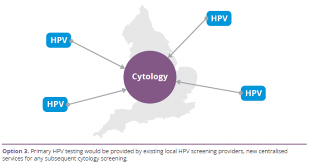 Option 3: Primary HPV testing would be provided by existing local HPV screening providers, new centralised services for any subsequent cytology screening.
