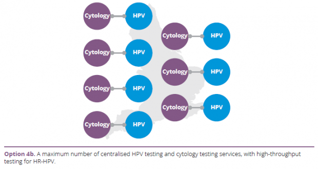 Option 4b: A maximum number of centralised HPV testing and cytology testing services, with high-throughput testing for HR-HPV.