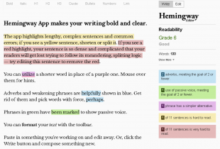 Screen shot of the Hemingway App