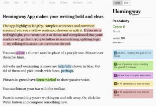 A screenshot of the Hemingway App.