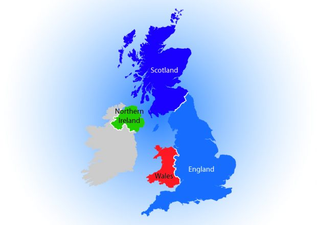 A map of the UK showing each country: Scotland, England, Wales and Northern Ireland.
