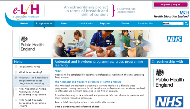 A screening page on the e-Learning for Healthcare website.
