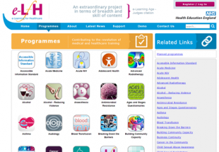 The e-learning for health platform homepage,