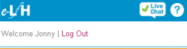 A close-up of the 'Live Chat' button on the e-learning for healthcare website.