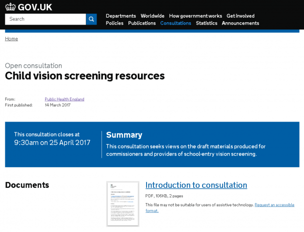 The consultation page on GOV.UK