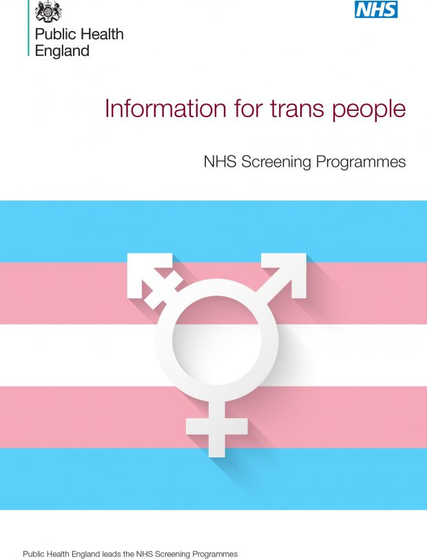 Front cover of transgender screening leaflet