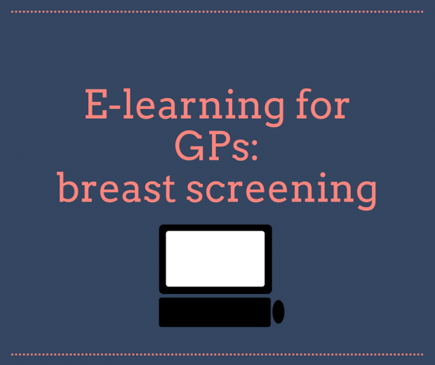Infographic with the words e-learning for GPs and a picture of a computer.