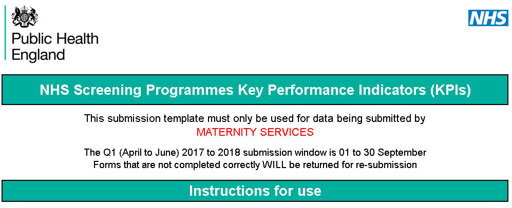 Updated template for antenatal and newborn KPIs from maternity services.