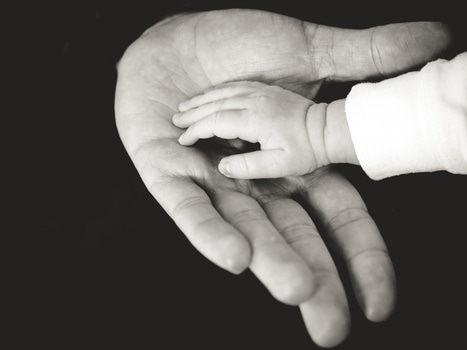 Picture of babys hand compared with adult's hand.
