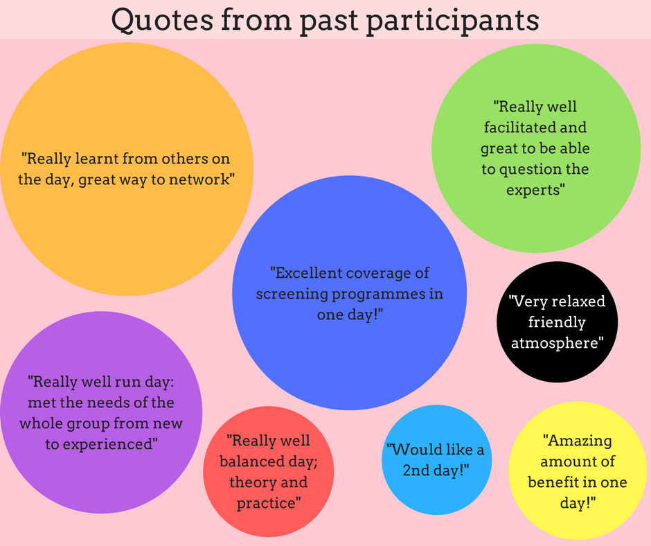 A number of positive quotes from past participants, saying things about how friendly it was and how much they learned.