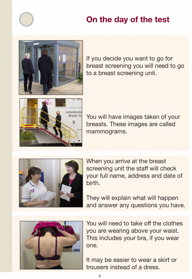One of the pages of our new easy guide to breast screening