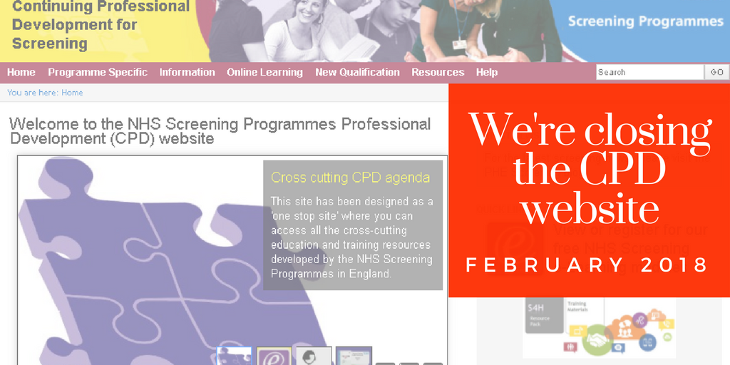Screenshot of the CPD website