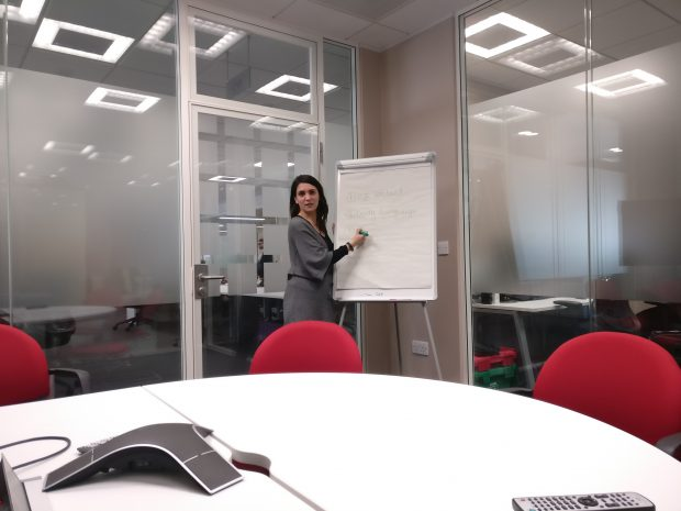Sonia Segalini is stood at a whiteboard during her presentation