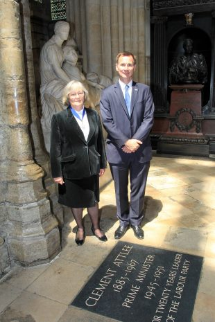 Belinda stood next to former health secretary Jeremy Hunt next to a stone for Clement Attlee.