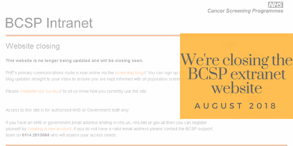 A screen grab says the BCSP intranet is being closed