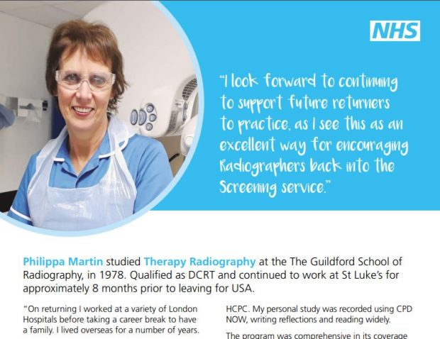 A poster of a radiographer as part of the encouraging radiographers back campaign.