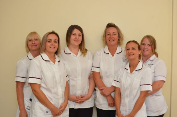 The newborn hearing screening team at Kettering General Hospital. (Lynne Grey is third from right).