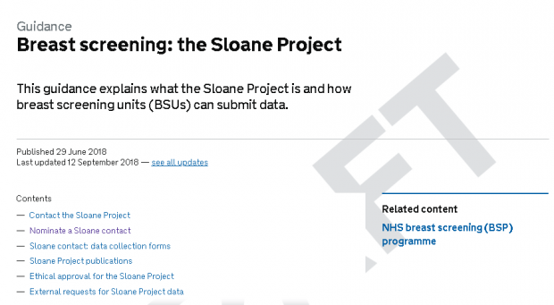 The new website on GOV.UK with the words breast screening: the Sloane Project.