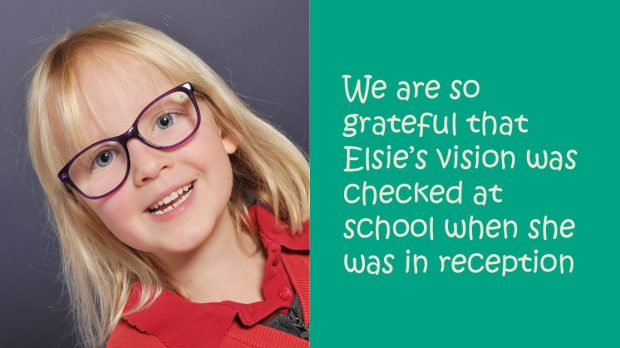 Image shows a photo of Elise and some text saying how grateful the family are that her vision was checked in school.