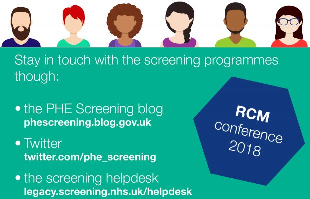 An infographic with several people shown on it and the words keep in touch with the screening programmes via the blog, Twitter and the helpdesk.
