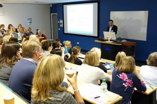 Consultant gastroenterologist Professor Paul O'Toole teaching at the Liverpool John Moores University course.