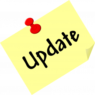A post-it note has the word 'update' on it