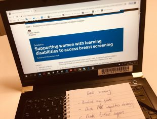 Laptop showing the new guidance to support women with learning disabilities