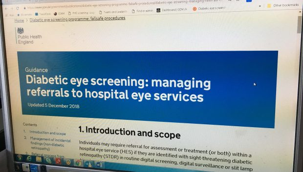 Screen displaying updated GOV.UK guidance with the words 'Diabetic eye screening: managing referrals to hospital eye services'.