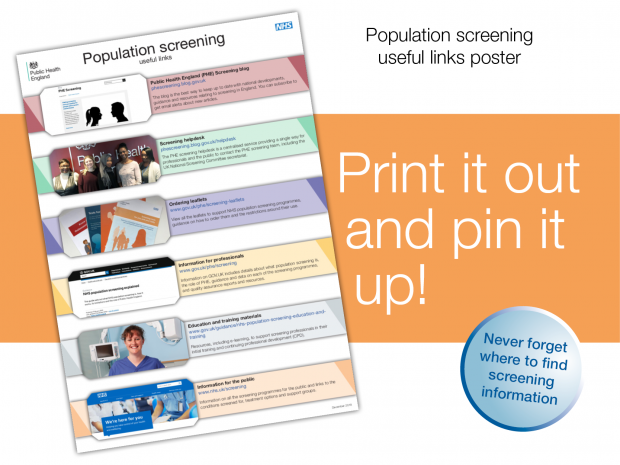 A graphic showing the new population screening leaflet with the words 'print it out and pin it up' written next to it.